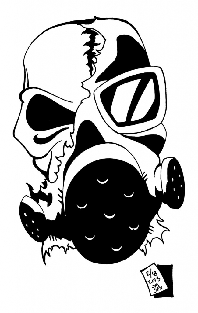 650x1024 Cool Skull Gas Mask Drawing Browsing Traditional Art