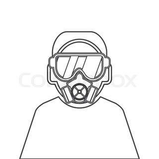 320x320 Gas Mask Vector Set. Gas Mask For Firefighters And Military
