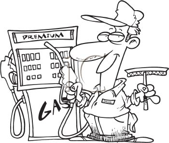 350x296 Black And White Gas Station Employee