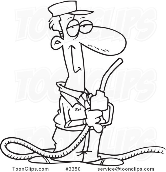 581x600 Cartoon Black And White Line Drawing Of A Gas Station Attendant