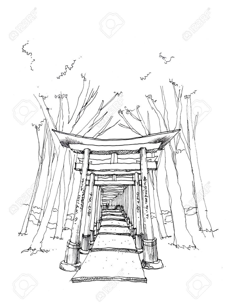 974x1300 Red Gate Toriifushimi Inari, Kyoto Landmark Hand Drawing