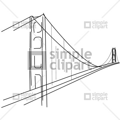 400x400 Symbolic Golden Gate Bridge Silhouette Vector Image
