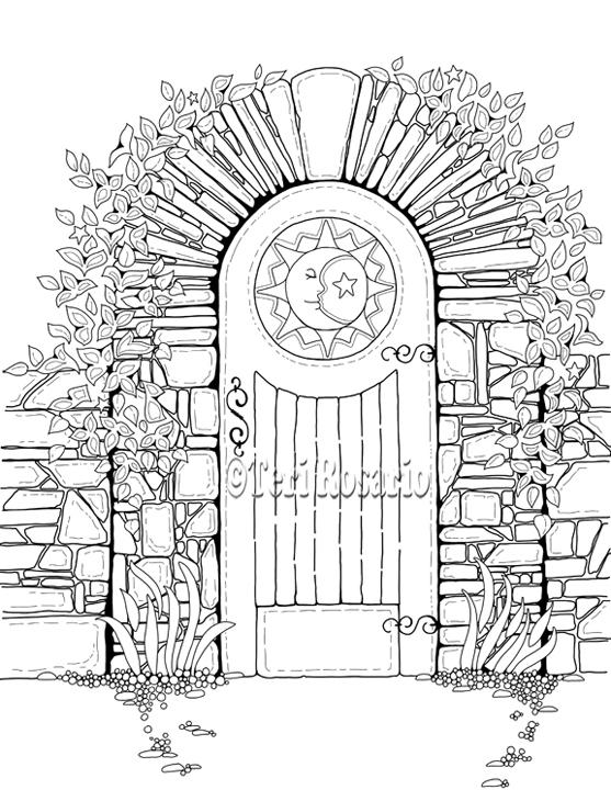 557x720 Teri Rosario Garden Gate 01 Coloring Garden Gate