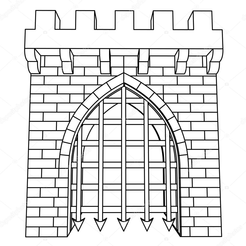 1024x1024 Isolated Medieval Gate Vector Drawing Or Coloring Stock Vector