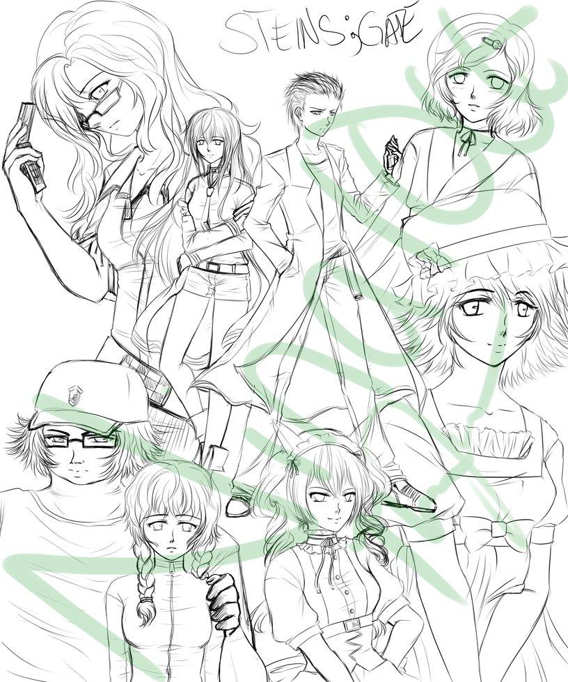 816x979 Steins Gate Sketch.wip By Kazeoseki