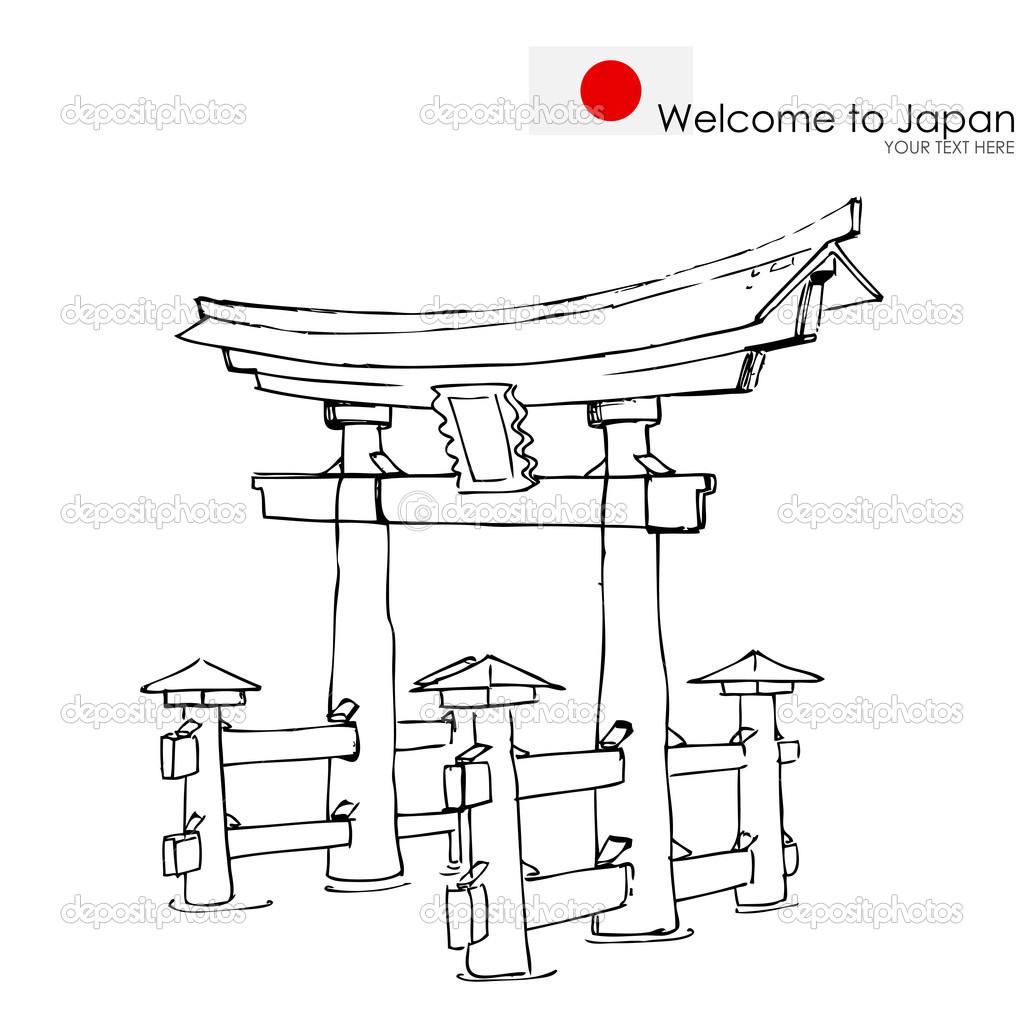 1024x1024 Tori Gate Line Drawing