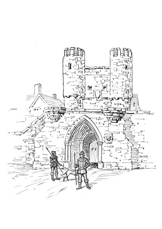 531x750 Coloring Page City Gate