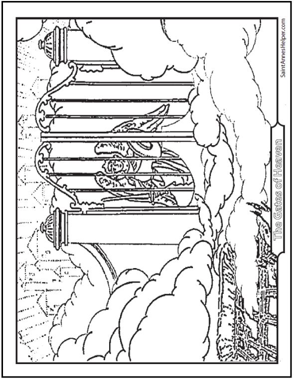 590x762 Gates Of Heaven With Angels Coloring Pages