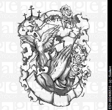 374x367 Vector Christian Tattoo Sleeve Illustration Containing Religious