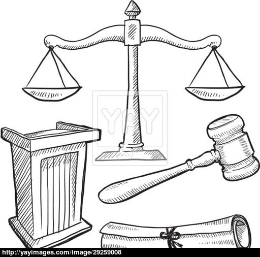 512x506 Courtroom Objects Sketch Vector