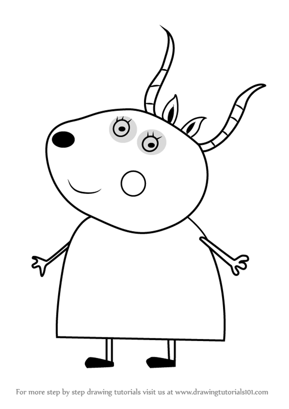 566x800 Learn How To Draw Madame Gazelle From Peppa Pig (Peppa Pig) Step
