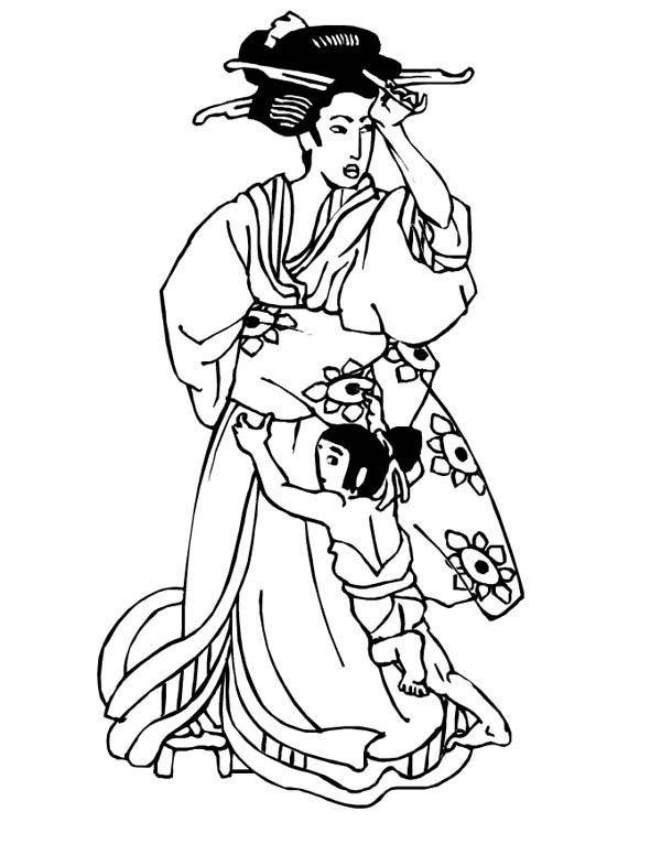 Beautiful Geisha Coloring Page