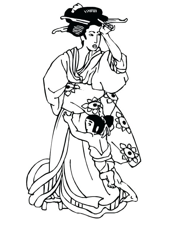 600x776 Geisha Coloring Pages Geisha Coloring Pages Geisha Playing Card