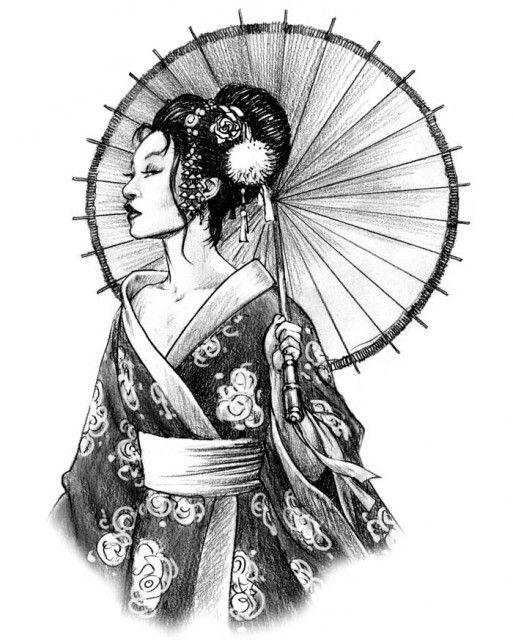 Geisha Tattoo Drawing