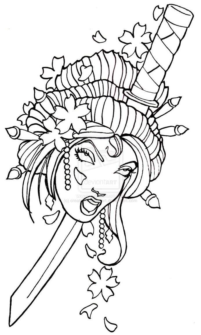 Geisha Tattoo Drawing At Getdrawings Com Free For Personal Use