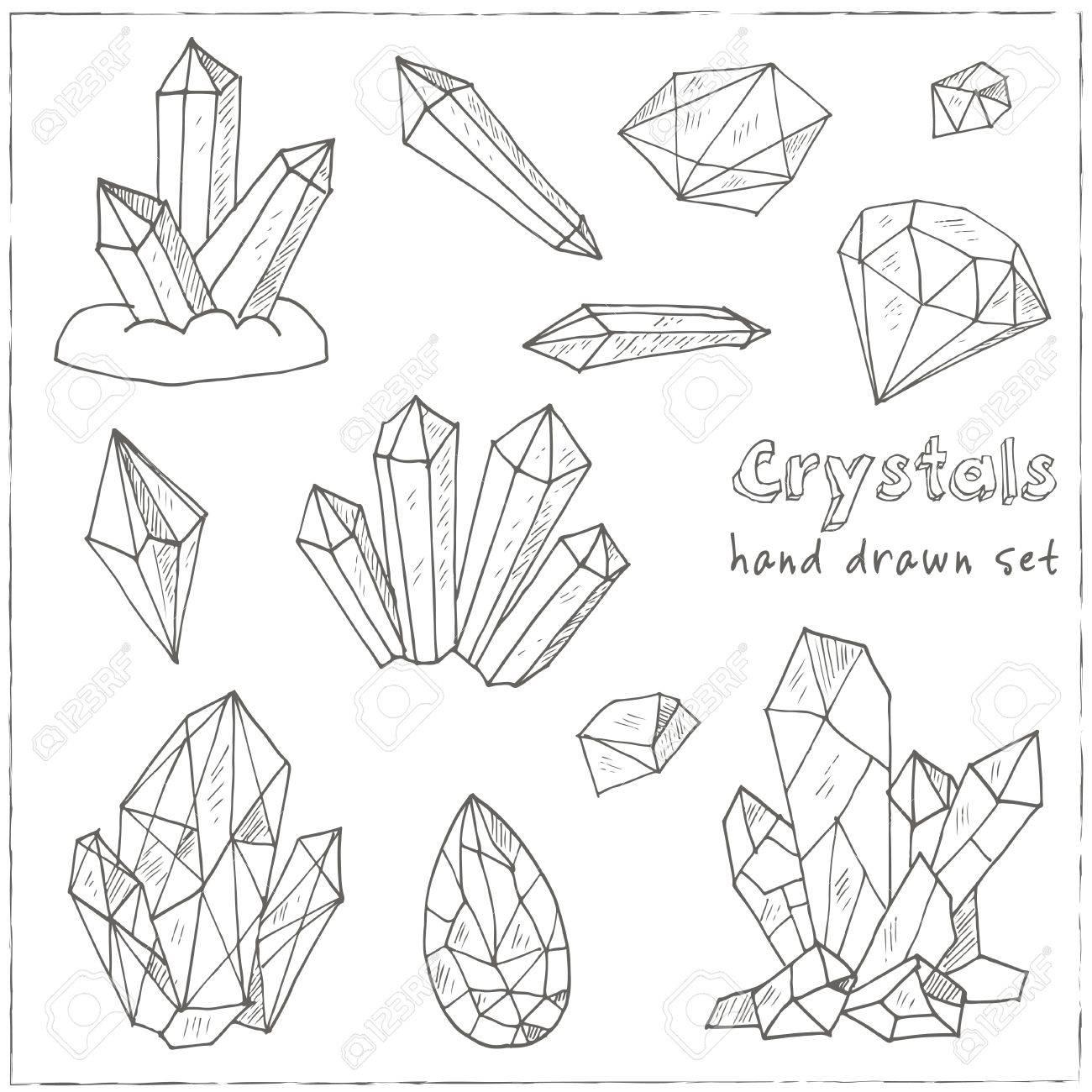 1300x1300 Set Of Geometric Crystals Gem And Minerals. Vector Illustration