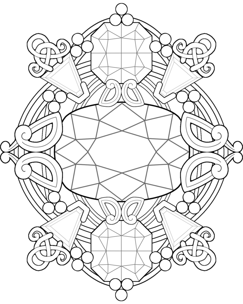 800x1000 Gemstone Fantasy ~ Adult Coloring Page By Kittenpants