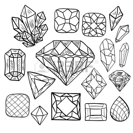 450x450 Hand Drawn Diamond Symbol. Sketch Of Gemstone Sign In Doodle