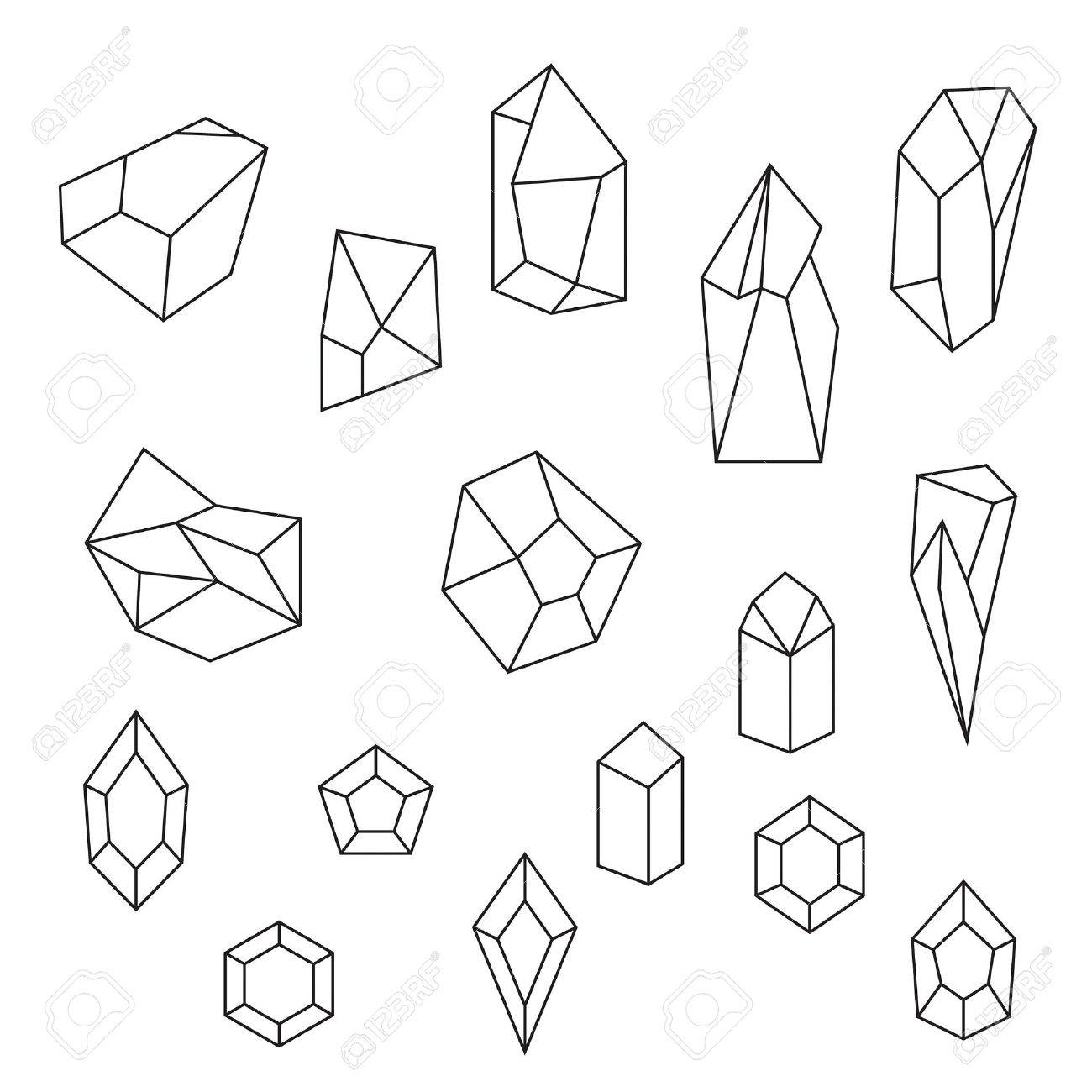 1300x1300 Set Of Crystals And Gemstone. Geometric And Polygonal Shapes
