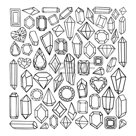 450x450 Set Of Geometric Crystals Gem And Minerals. Vector Illustration