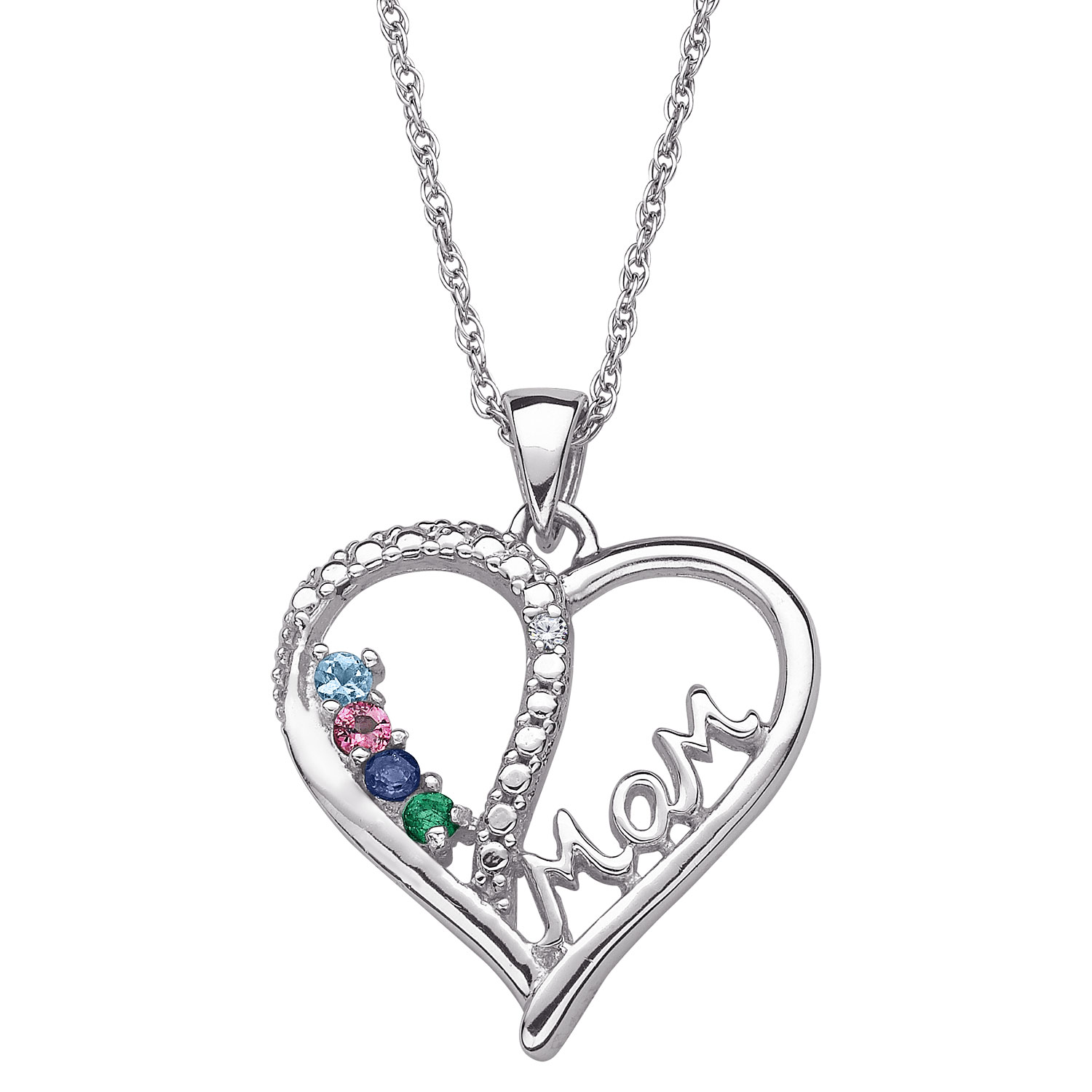 1500x1500 Sterling Silver Mom Genuine Gemstone Heart Necklace With Diamond