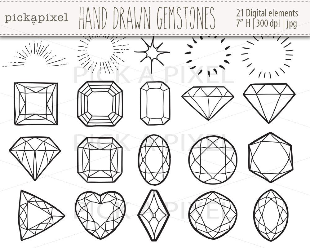 1000x800 Hand Drawn Gemstones Diamonds In Black Outlines Gems Clip