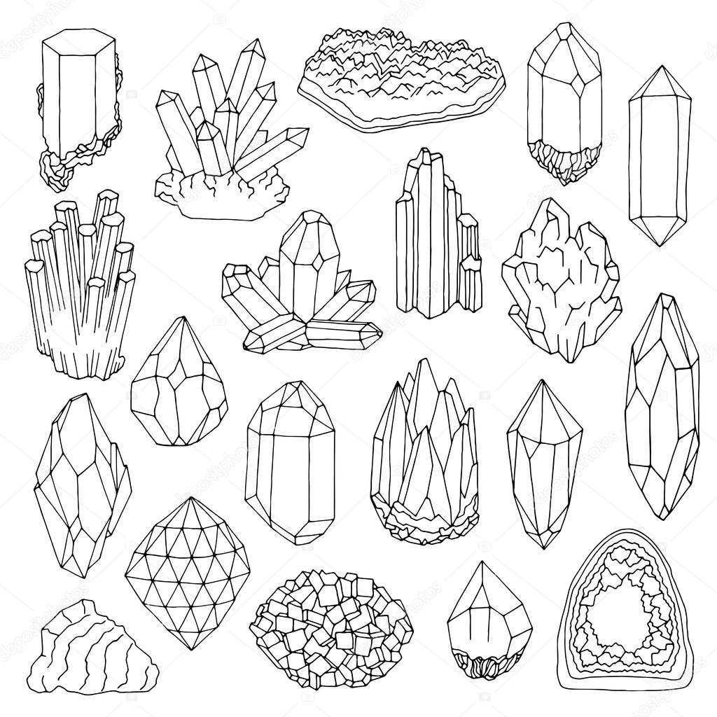 1024x1024 Hand Drawn Line Crystal, Mineral, Gem Stock Vector Nadyakr