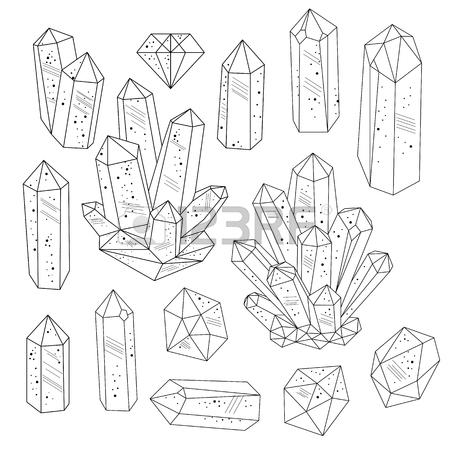 450x450 Seamless Background. Golden Silhouette Of Crystals Gemstones