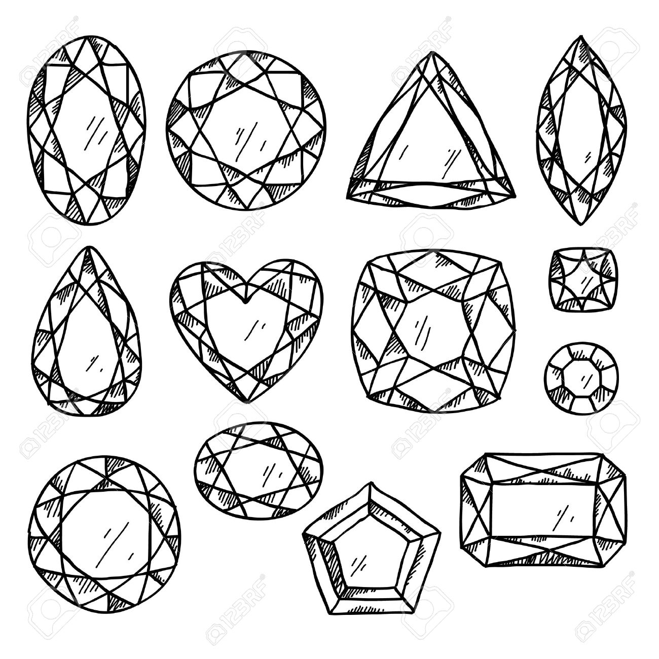 1300x1300 Set Of Black And White Jewels. Hand Drawn Gemstones. Sketch Style