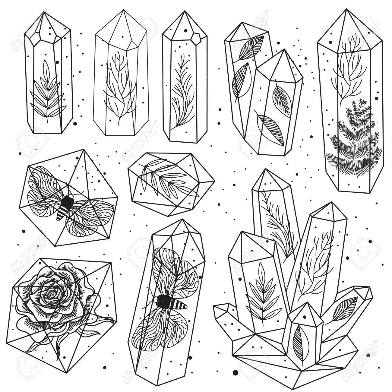 1300x1300 Set Of Hand Drawn Line Art Crystals And Leafs, Moths, Rose Inside