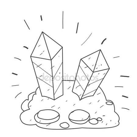 450x450 Two Crystal Gemstones In The Rock Outline Drawing. Stock Vector