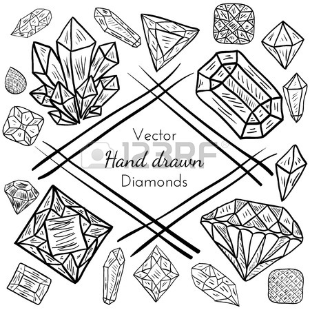 450x450 Vector Seamless Pattern With Hand Drawn Doodle Diamonds, Crystals