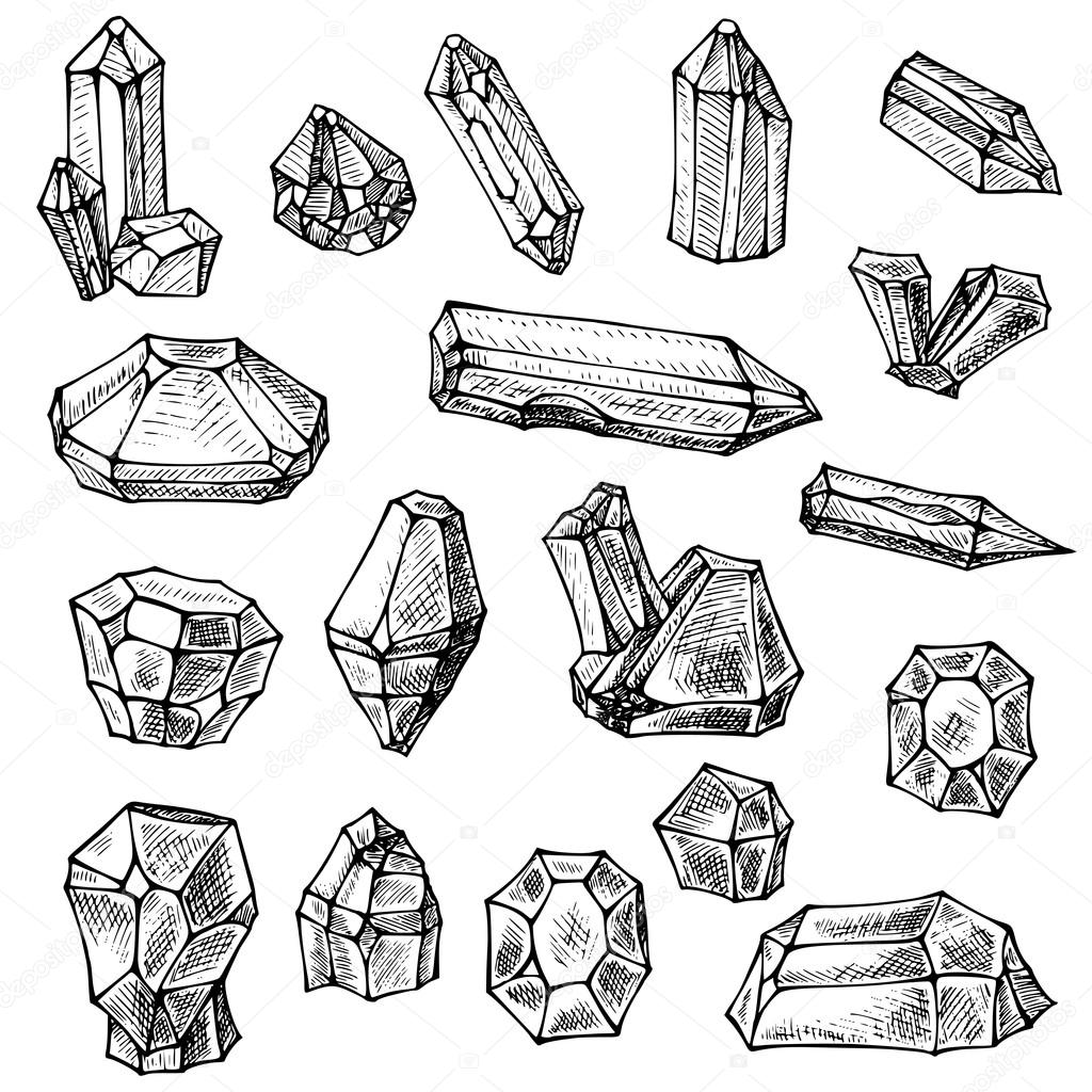 1024x1024 Boho Crystals Set. Hand Drawn Sketch Stock Vector Lexver