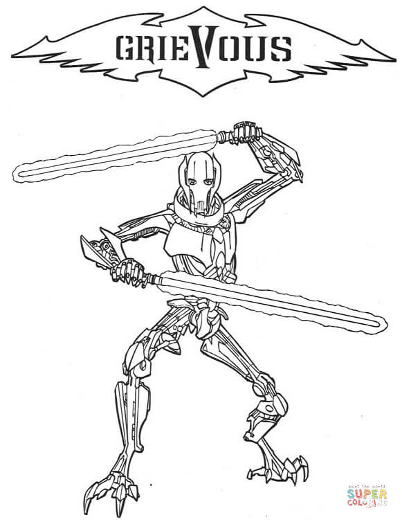 581x754 General Grievous Coloring Page Free Printable Coloring Pages