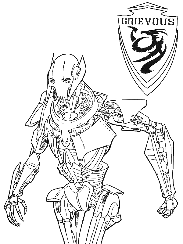 600x800 General Grievous From Star Wars Coloring Page