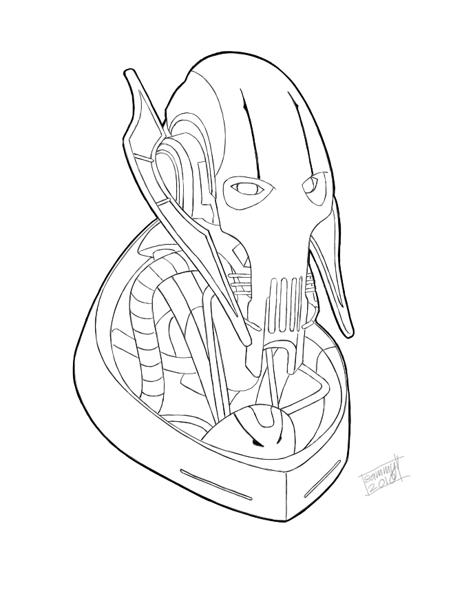 658x856 General Grievous Bust Lineart By Sammy514