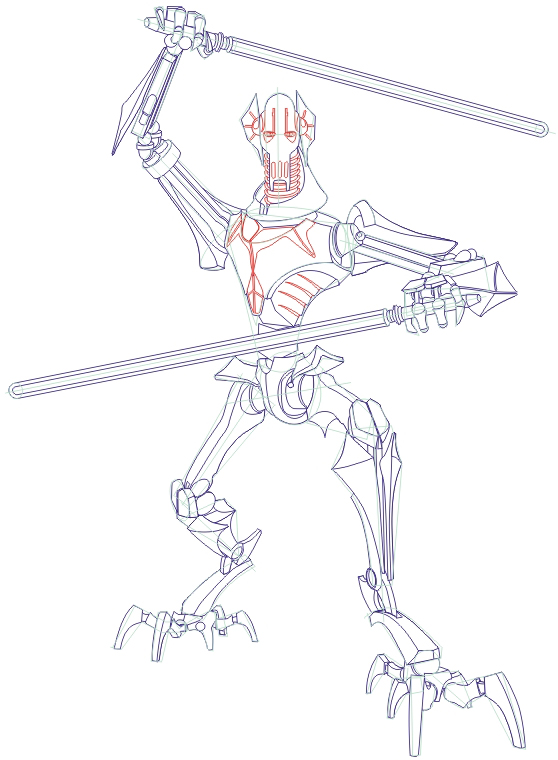558x760 How To Draw General Grievous From Star Wars Step By Step Drawing
