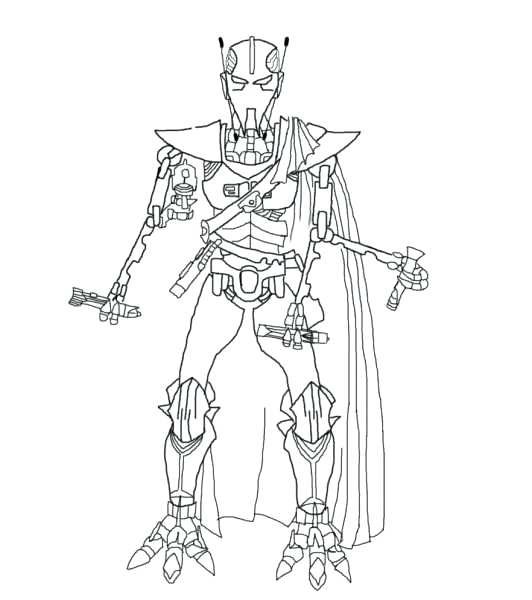 532x600 General Grievous Coloring Page By
