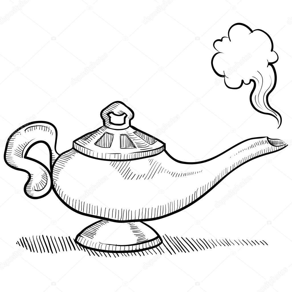 1024x1024 Aladdin Genie Lamp Drawing