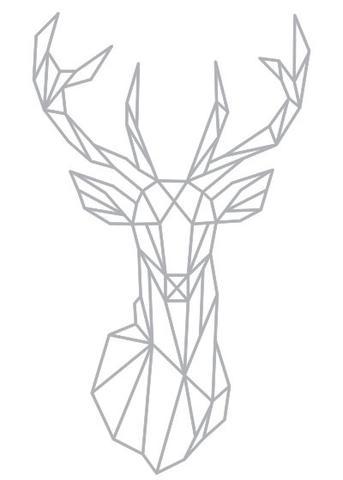 343x480 Geometric Deer Head Wall Sticker Geometry Animal Series Decals 3d