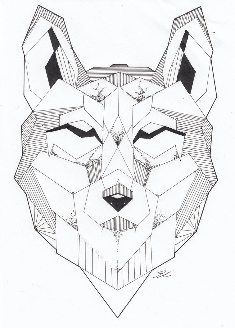 757x1056 Geometric Wolf By J R Cousins