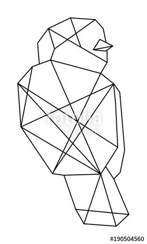 302x500 Geometric Bird Line Art