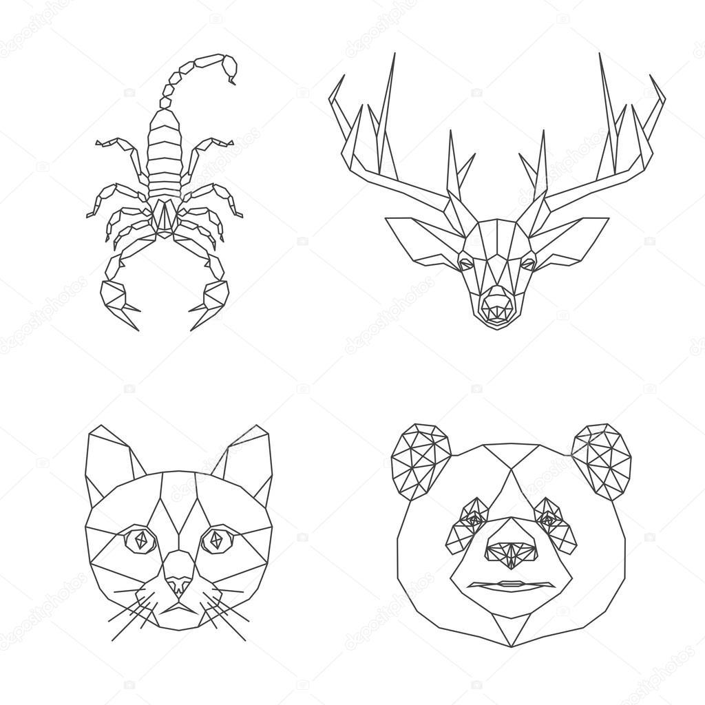 1024x1024 Geometric Animals Set Stock Vector Archiwiz