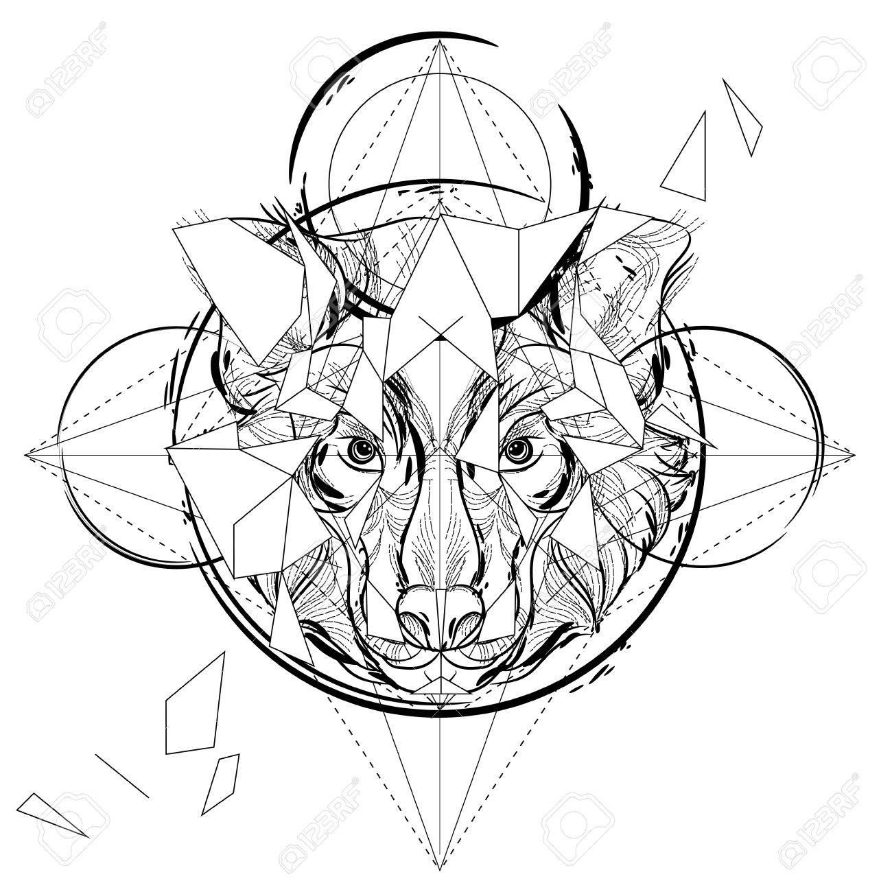 1300x1300 Animal Head Triangular Icon , Geometric Trendy Line Design. Vector