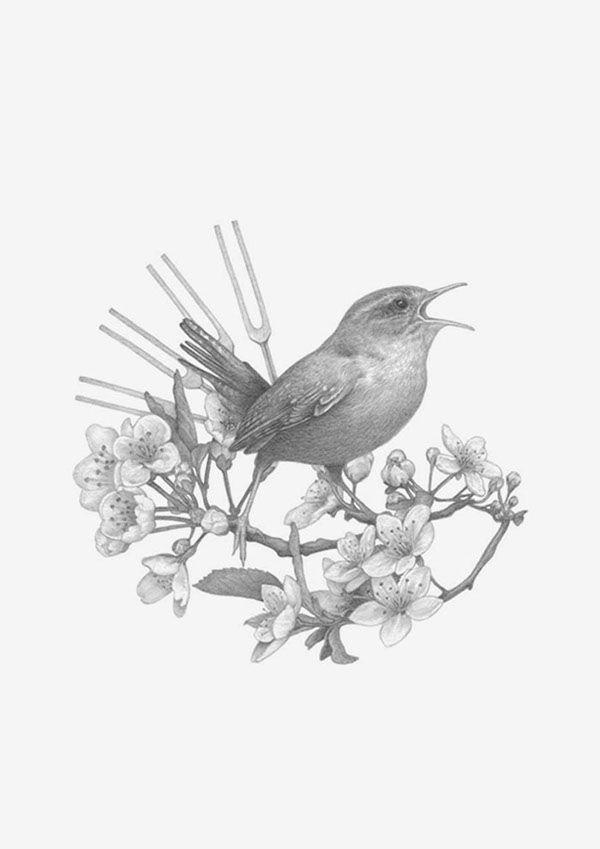 Geometric Bird Drawing