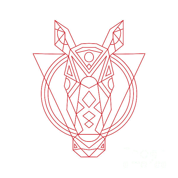 600x600 Geometric Horse Head Line Drawing Digital Art By Aloysius Patrimonio