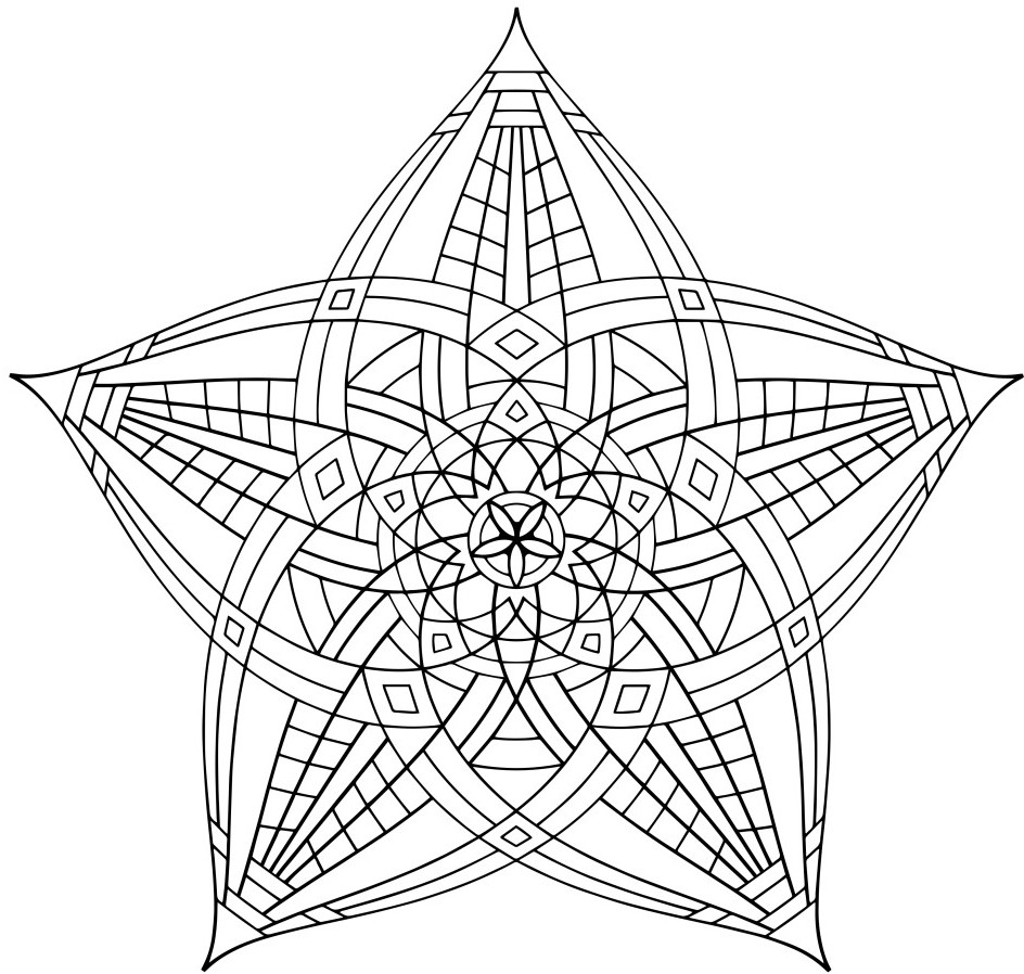944x898 Geometric Flower Coloring Page