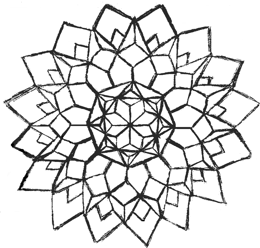 1036x988 Geometric Flower V2 By Insane Demonchild Traditional Art Drawings