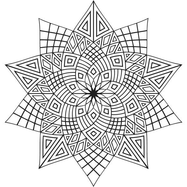 600x600 Geometric Flowers Mandala Coloring Pages Batch Coloring