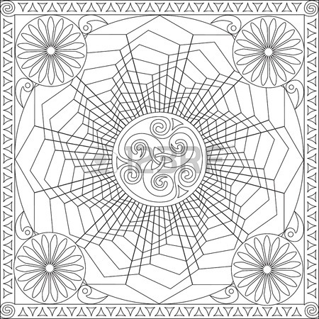 450x450 Page Coloring Book For Adults Square Format Flower Geometric